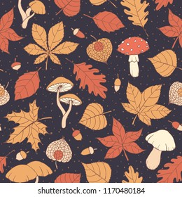 Vector autumn seamless pattern with oak, poplar, beech, maple, aspen and horse chestnut leaves, mushrooms, acorns and physalis on the dotted background. Usable for wrapping paper, covers, textile, etc