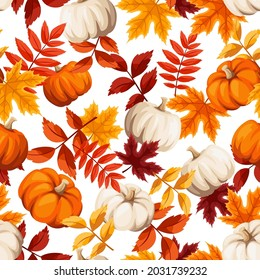 Vector autumn seamless pattern with orange, brown and yellow autumn leaves and orange and white pumpkins.