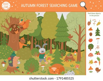 Vector autumn searching game with cute woodland animals. Find hidden objects in the forest. Simple fun educational fall season printable activity for kids with mushrooms, berries, plants