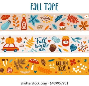 Vector autumn seasonal masking tapes with falling leaves, mushrooms, berries, vehicle and autumn letterng phrases. Seamless fall boarder with floral elements and seasonal symbols.