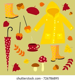 Vector autumn set includes yellow raincoat, boots, mushrooms, berries, tea, trees and leaves. Fall vector illustration