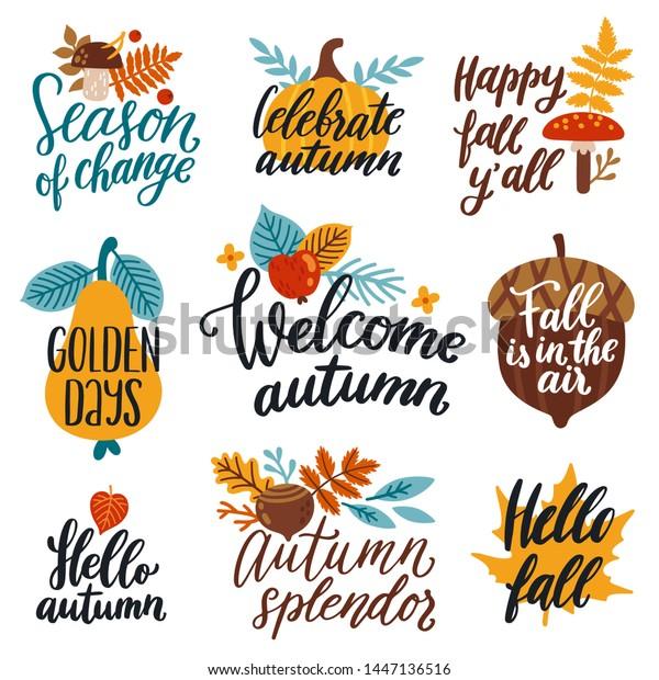 Vector Autumn Set Labels Hand Written Stock Vector Royalty Free