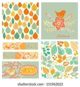 Vector autumn set, seamless pattern with leaf, autumn leaf background.Autumn seamless pattern. Vector backdrop. Bright pattern. Autumn template. Use for wallpaper, pattern fills, web page background