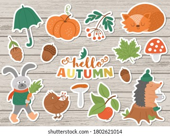Vector autumn sticker pack. Cute fall season icons set for prints, badges.  Funny illustration of forest animals, pumpkins, mushrooms, leaves, harvest, vegetables, birds