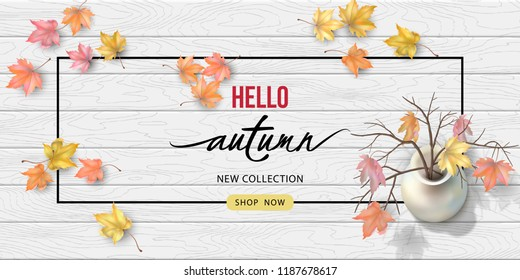 Vector autumn top view composition with fallen leaves on a wooden background