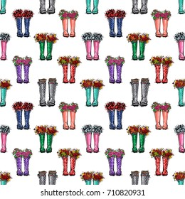 Vector autumn wellies or colorful rubber boots illustration. Seamless pattern in watercolor style. Background for decoration seasonal celebration, fabrics, textile, greeting card and web banner.