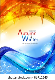 Vector autumn & winter background with lighting effect.
