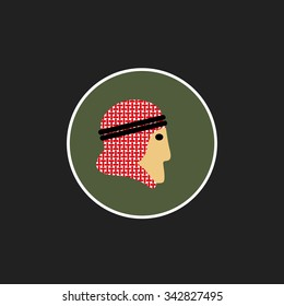 Vector avatar of Arab man in traditional clothing. Isolated background