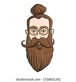 vector avatar head of a hipster with a very long beard and man bun, round golden glasses and a big mustache.  brown hair, cool, fashion, color, illustration.
