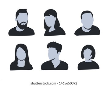 vector avatar, profile icon, head silhouette. Group of working people diversity, diverse business men and women avatar icons. Vector illustration of flat design people characters. Website user profile