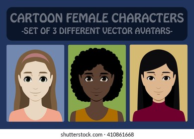 Vector avatars icons set. Flat user icons set; different races, ethnicity, nationality: asian, european, afro american. Vector realistic cartoon female characters. Woman face for social network avatar