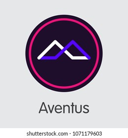 Vector Aventus Crypto Currency Graphic Symbol. Mining, Coin, Exchange. Vector Colored Logo of AVT.