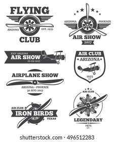 Vector aviation badges, avia club emblems, airplane logos set. Retro plane with propeller, airshow label emblem illustration