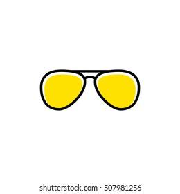 Vector aviator sunglasses icon. Minimal vacation design