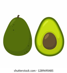 Vector avocado food icon. Avocado fruit whole and half. Avocado illustration in flat minimalism style.
