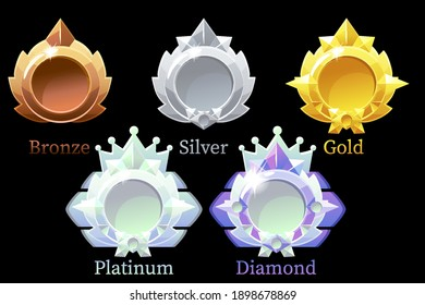 Vector awards medals gold, silver, bronze, platinum and diamond. Set of isolated icons for awards templates.