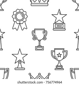 Vector awards seamless pattern in trendy linear style