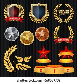 Vector Awards And Trophies Collection. Golden Badges And Labels. Championship Design. 1st, 2nd, 3rd Place. Golden, Silver, Bronze Achievement. Badge, Medal.