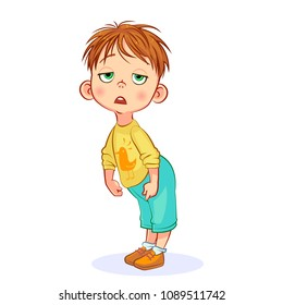 Vector aweary boy hunched herself, tiredly dropped his eyelids, a mess on his head. Cutout cartoon funny kids art.