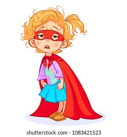 Vector aweary super girl hunched herself, tiredly dropped her eyelids, a mess on her head, a red mask and a red cloak tied around her neck. Cutout cartoon funny Super hero art.