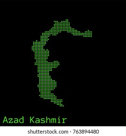 Vector Azad Kashmir map dotted silhouette with green dots on a black background (as on old ancient computers running DOS)