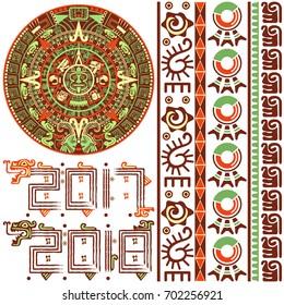 Vector of Aztec calendar with native ornaments