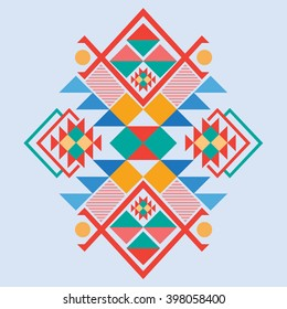 Vector Aztec stile tribal elements, ethnic design mix geometric textile with light blue color background