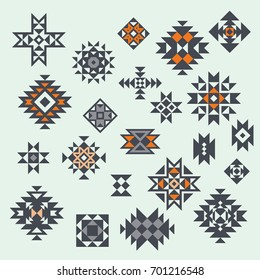 Vector Aztec Style Design Elements. Geometric Design. Can be used for textile, backgrounds, web, wrapping paper, package etc.