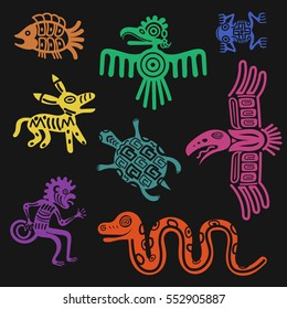 Vector aztec symbols or inca pattern culture signs isolated on black background. Tribal totem animal tattoo illustration