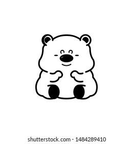 Vector baby bear cute, line-shaped.