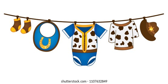 Vector baby boy clothes hanging on the line. Vector baby boy clothes in cowboy style. Vector baby boy clothing. Baby boy clothes vector illustration