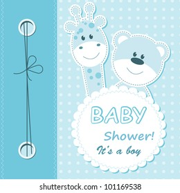 Vector baby boy scrapbook card with