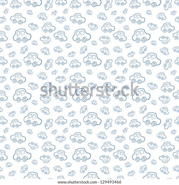 Vector Baby boy Seamless Blue Background. Boyish wallpaper.Pattern with hand drawn cars.