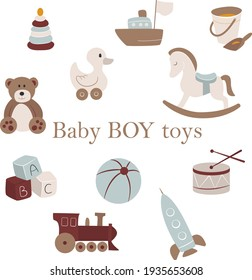 Vector Baby boy toys. Nursery hand-drawn pyramid, ship, sand bucket, duck, horse, bear, rocket, locomotive, ball, cubes and drum on white background. Pastel colors.