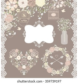 Vector Baby breath / floral elements / Peach flower