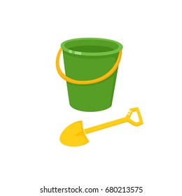 Vector baby bucket and sand shovel toy flat illustration. Child spade and pail, plastic playing tools colored isolated on a white background.