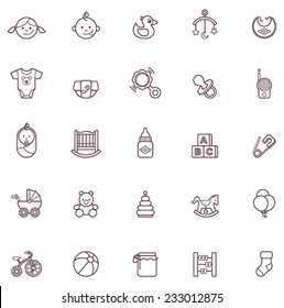 Vector baby and childhood icon set