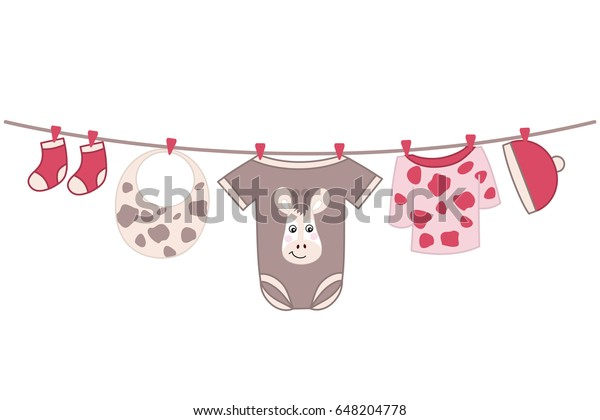 Vector Baby Clothes Hanging On Line Stock Vektorgrafik Lizenzfrei