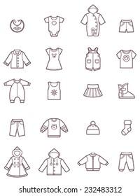 Vector baby clothes icon set