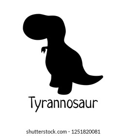 Vector baby dino silhouette - tyrannosaurus or t-rex  - for logo, poster, banner. For historic event, dinosaur party invitation, fashion textile design. Isolated on white
