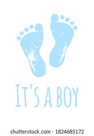 Vector baby footprints silhouette print drawing design.Blue Footsteps.It's a boy.Baby shower.New born.