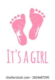 Vector baby footprints silhouette print drawing design.Pink Footsteps.Baby shower.New born.It's a girl.