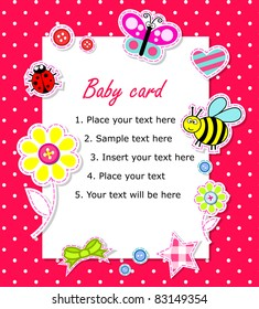 Vector baby girl card with scrapbook elements