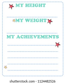 Vector baby milestone card for girl or boy. My height, my weight, my achievement