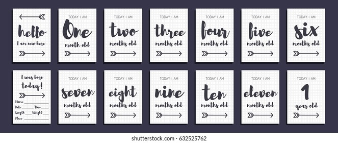 Vector baby milestone cards for girl or boy. Calligraphy lettering. 1-11 months and 1 year. Modern gray pattern in the cage