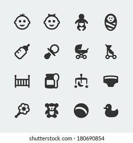 Vector baby mini icons set