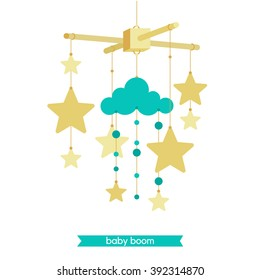 Vector baby mobile. Baby shower invitation. Vector baby mobile for baby card design. Vector hanging baby toy. Isolated baby mobile.