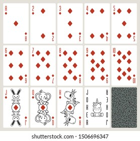 Vector baby poker playing cards with animals. Diamonds suit. Original design deck. Vector illustration