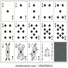 Vector baby poker playing cards with animals. Clubs suit. Original design deck. Vector illustration