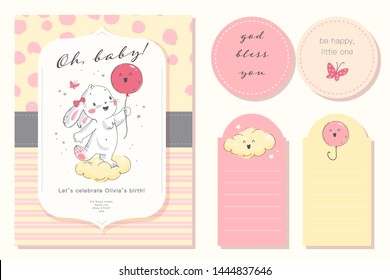 Vector baby shower design template. Cute hand drawn little bunny character. Flat lay. Pastel colors. For happy birthday and anniversary party invitations, greeting cards, tags etc.
